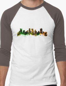 Skyline of Fort Worth Texas USA Men's Baseball ¾ T-Shirt