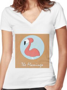 The Flamingo Cute Portrait Women's Fitted V-Neck T-Shirt