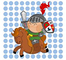 little knight with his horse Photographic Print