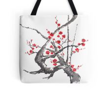 Chinese plum tree blossom sumi-e painting Tote Bag