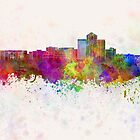 Tucson skyline in watercolor background by paulrommer