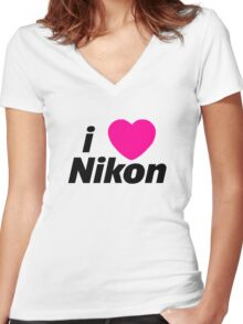 I Love Nikon -  But I own a canon! Women's Fitted V-Neck T-Shirt