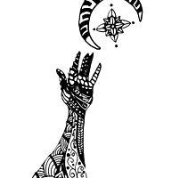 Reaching (Black on White) by TangleThatZen