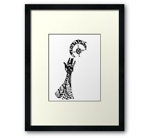 Reaching (Black on White) Framed Print