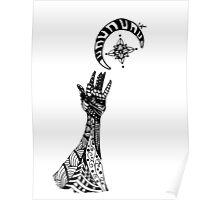 Reaching (Black on White) Poster