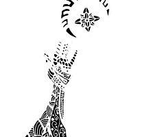 Reaching (White on Black) by TangleThatZen