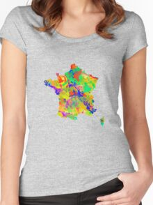 Watercolor Map of  France Women's Fitted Scoop T-Shirt