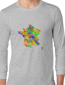 Watercolor Map of  France Long Sleeve T-Shirt
