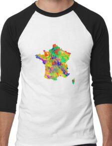 Watercolor Map of  France Men's Baseball ¾ T-Shirt
