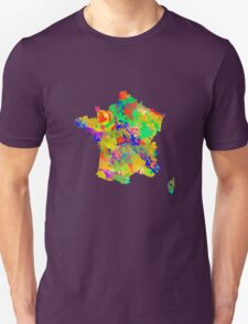 Watercolor Map of  France Unisex T-Shirt