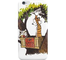 calvin and hobbes on tree  iPhone Case/Skin