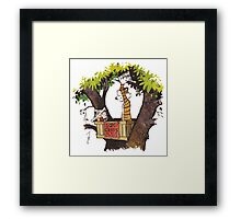 calvin and hobbes on tree  Framed Print