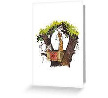 calvin and hobbes on tree  Greeting Card