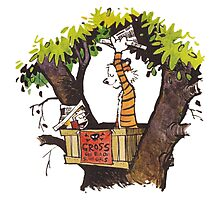 calvin and hobbes on tree  Photographic Print