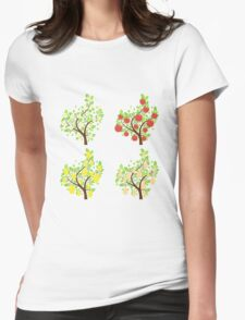 Stylized Fruit Trees Womens Fitted T-Shirt