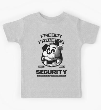 Freddy Fazbear's Security BLACK AND WHITE Kids Tee