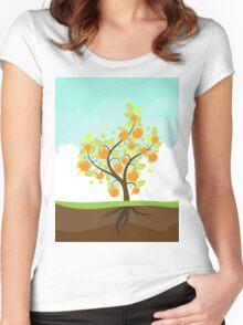 Stylized Orange Tree Women's Fitted Scoop T-Shirt
