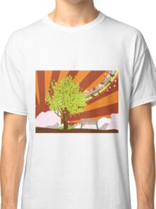 Summer illustration with green tree Classic T-Shirt