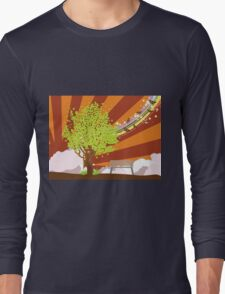 Summer illustration with green tree Long Sleeve T-Shirt