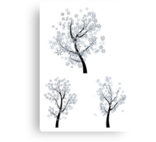 Trees with Snowflakes Canvas Print