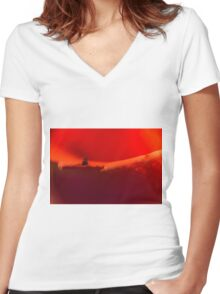 Defocused Red 3 Women's Fitted V-Neck T-Shirt