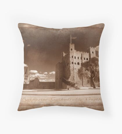 Rochester Castle and Cathedral Throw Pillow