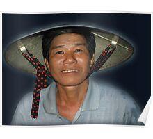 Fisherman on Thu Bon River, Hoi An, Vietnam Poster