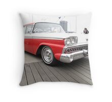 Classic Red and White 1959 Style Throw Pillow