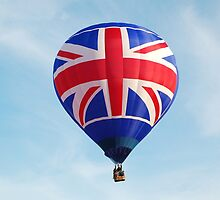 Red White Blue British Union Jack Flag Hot Air Balloon in Flight by HotHibiscus