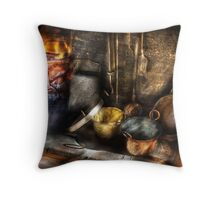 Colonial Kitchen pots Throw Pillow