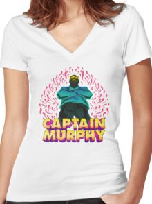 Captain Murphy - Flames Women's Fitted V-Neck T-Shirt