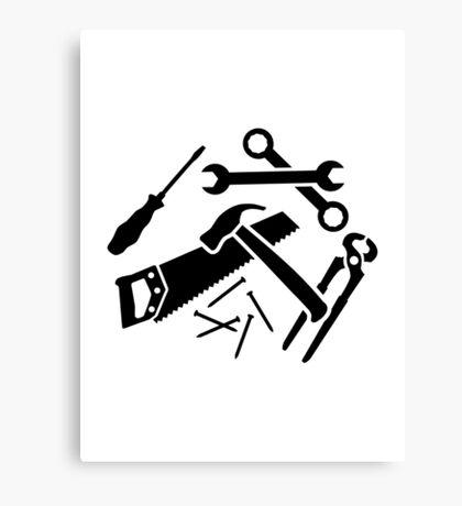 Tools saw hammer nails screwdriver Canvas Print