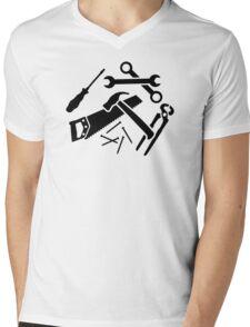 Tools saw hammer nails screwdriver Mens V-Neck T-Shirt