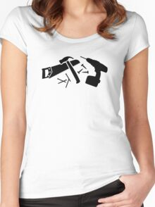 Screwdriver hammer nails saw Women's Fitted Scoop T-Shirt