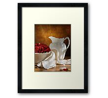 White Wheat And Roses Framed Print