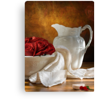 White Wheat And Roses Canvas Print