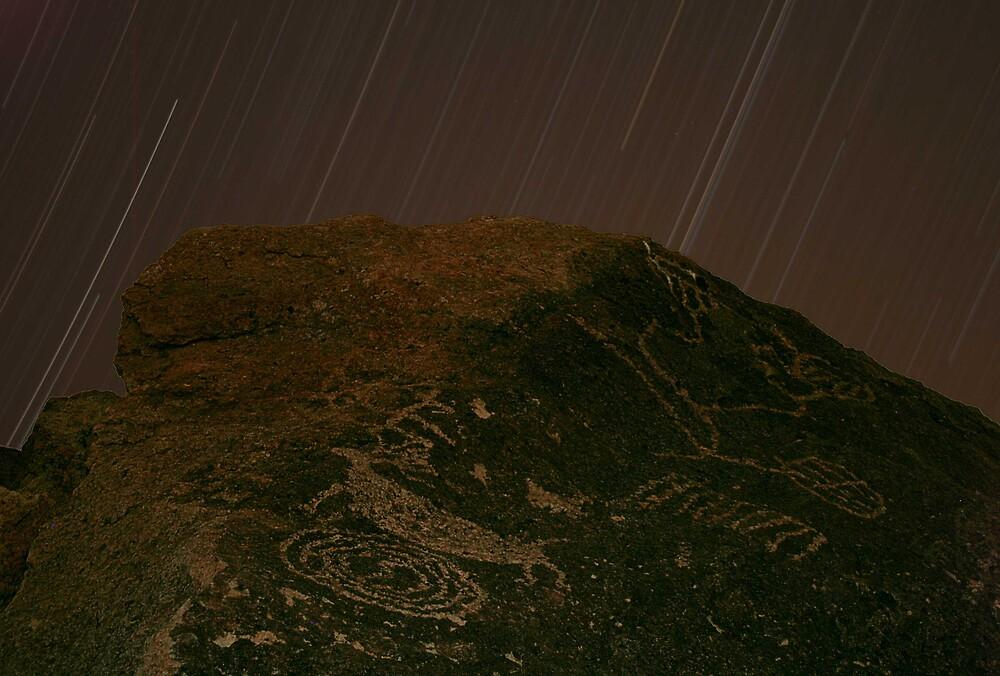 Stars Over Petroglyphs, Eastern Sierra by Tyler  Core
