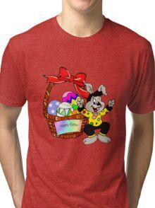 Easter bunny with Easter egg basket Tri-blend T-Shirt