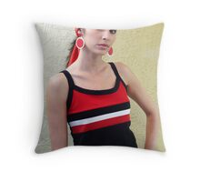 Teresa in Black & Red Throw Pillow
