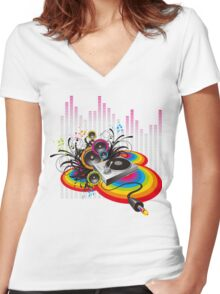 Vinyl Record Music Collage Women's Fitted V-Neck T-Shirt