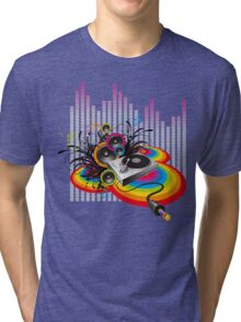 Vinyl Record Music Collage Tri-blend T-Shirt