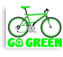 Go Green Bicycle Recycle Design Canvas Print