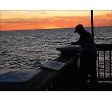 Silhoutte Fisherman Photographic Print