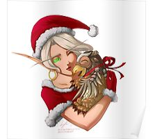 Christmas Blood Elf with Moonkin Hatchling Poster