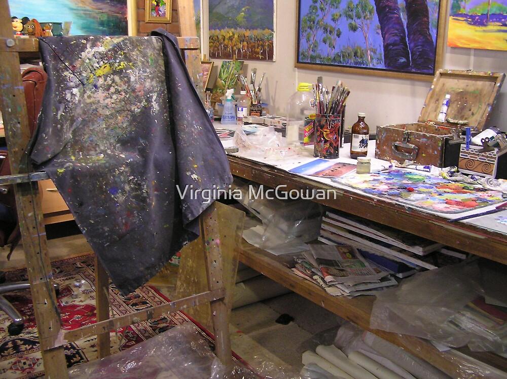 My playroom [arty work studio]partly[ the tidy part][joke] by Virginia McGowan