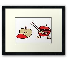 funny ninja apple  Framed Print