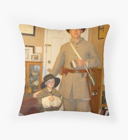 Civil War Re-Enactors In The Family Throw Pillow