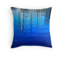 Masts reflected in the harbour in Barcelona. Throw Pillow