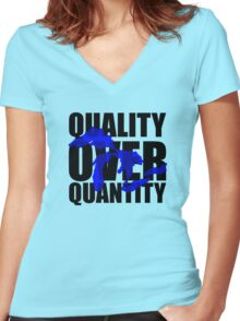 Quality Over Quantity Women's Fitted V-Neck T-Shirt