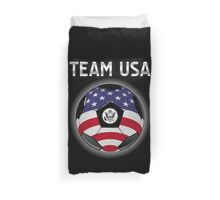 Team USA - American Flag - Football or Soccer Ball & Text Duvet Cover